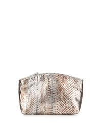 Beirn Small Python Cosmetic Pouch Distressed Silver
