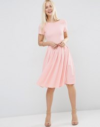 Asos Midi Pleated Skater Dress With Scoop Back Nude Pink