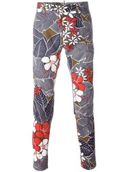 Dsquared2 Floral Print Trousers Blue