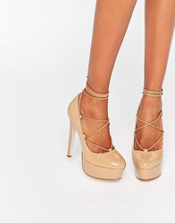 Asos Party All Night Lace Up Platforms Toffee Nude Patent Beige