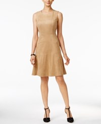 Alfani Sleeveless Faux Suede Fit And Flare Dress Only At Macy's Tannin