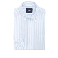 Drakes Striped Oxford Cloth Dress Shirt Blue
