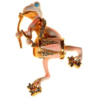 Alice Joseph Vintage 1950S Hattie Carnegie Gold Toned Enamel And Diamante Frog Drum Brooch Blush Gold