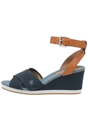 Marc O'polo Platform Sandals Dark Blue Cognac