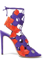 Casadei Laser Cut Suede And Leather Sandals Purple