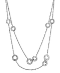 Calvin Klein Stainless Steel Cubic Zirconia Circle Pendant Long Necklace 7 8 Ct. T.W.