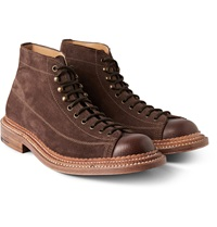 Grenson Gus Triple Welted Suede And Leather Boots