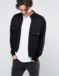 Asos Oversized Funnel Neck Jersey Bomber With Reverse Loopback Pockets Black