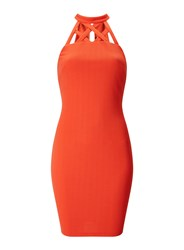 Miss Selfridge Red Pencil Cage Neck Bodycon