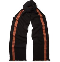 Berluti Striped Cashmere And Silk Blend Scarf Black