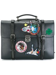 Dolce And Gabbana Patch Briefcase Style Backpack Blue