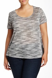Gibson Zip Back Striped Tee Plus Size Gray