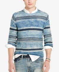 Polo Ralph Lauren Men's Indigo Striped Crew Neck Sweater Navy