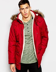 Hollister Borg Lined Parka With Faux Fur Trim Hood Red