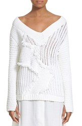 Zero Maria Cornejo Women's Zero Maria Cornejo 'Komo' Fringe Trim Hand Knit Off Shoulder Sweater