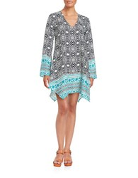 Design Lab Lord And Taylor Printed Shift Dress Navy Off White