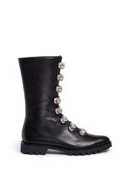 Stella Luna Turnlock Buckle Leather Ankle Boots Black
