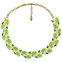 Eclectica Vintage 1950S Lisner Gold Plated Enamel And Leaf Glass Stone Necklace Spring Green Gold