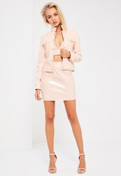 Missguided Galore Pink Patent Faux Leather Mini Skirt