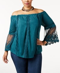 American Rag Trendy Plus Size Off The Shoulder Top Only At Macy's Deep Teal
