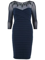 Gina Bacconi Bandage Dress With Beaded Sheer Yoke