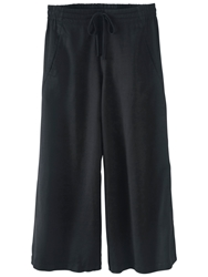 Poetry Cropped Linen Blend Trousers Washed Black