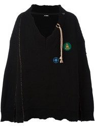 Raf Simons V Neck Oversized Jumper Black