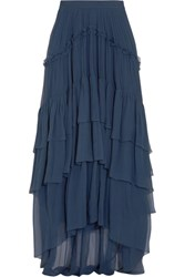 Chloe Ruffled Tiered Silk Mousseline Maxi Skirt Navy
