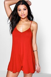 Boohoo Bright Strappy Swing Playsuit Orange