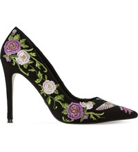 Dune Birdy Embroidered Suede Court Shoes Multi Suede