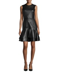 Jason Wu Sleeveless Leather Flounce Hem Dress Black