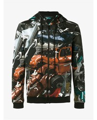 Christopher Kane Car Crash Print Hoodie Multi Coloured Black