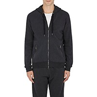 Derek Rose Men's Loopback Zip Front Hoodie Dark Grey