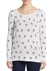Saks Fifth Avenue Red Anchor Print Flyaway Sweater White Navy