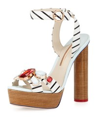 Amanda Gem Nautical Platform Sandal Black White Sophia Webster