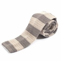 Nick Bronson Knitted Silk Stripe Tie Pearl Grey