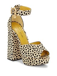 Charlotte Olympia Chantale Cheetah Print Calf Hair Platform Sandals Brown