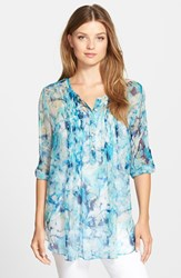 Women's Casual Studio Pleat Front Peasant Blouse Turquoise Print