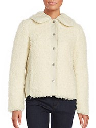 See By Chloe Faux Fur Fluffy Coat Off White