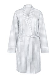 Araks 'Kari' Gingham Check Organic Cotton Robe Grey
