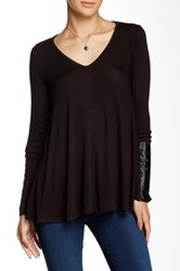 Three Dots Long Sleeve Shirt With Faux Leather Black
