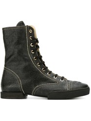 Chanel Vintage Lace Up Boots Black