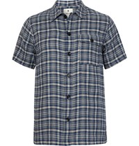 Snow Peak Checked Cotton Flannel Shirt Storm Blue