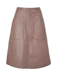 Paul Smith Black Leather Skirt Taupe