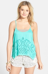 Volcom 'Upstate' High Low Camisole Juniors Green Spray