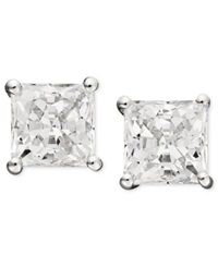 Arabella 14K White Gold Earrings Swarovski Zirconia Princess Cut Stud Earrings 2 3 4 Ct. T.W.