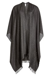 Brunello Cucinelli Cashmere Scarf With Silk And Sequins Grey