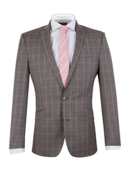 Racing Green Check Notch Collar Tailored Fit Suit Jacket Grey
