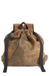 Vejas Drawstring Leather Backpack