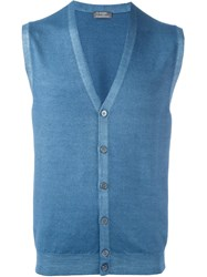 Barba Button Down Knitted Waistcoat Blue